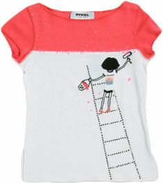 Painting Tee A crisp white tee features a pink color block across the shoulders. Rykiel is standing atop a rhinestone ladder with paint and roller in hand.
