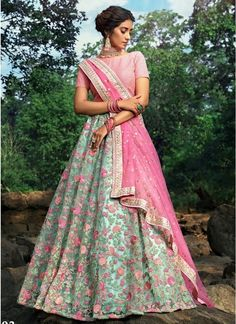 This Lehenga choli is Inspired by floral detailed embroidery. The flowery beauty enhances the look of lehenga choli. This lehenga choli is made of high quality soft net enhanced with thread, sequins and zari work. Floral Lehenga, Lehenga Dupatta, Pink Lehenga, Ghagra Choli, Bridal Lehenga Choli, Bollywood Lehenga, Lehnga Dress, Sabyasachi, Gown Dress