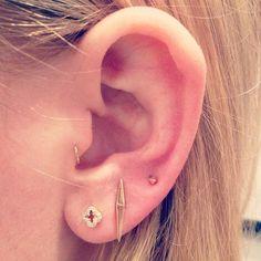 The Tragus + Triple Lobe | 28 Adventurous Ear Piercings To Try This Summer