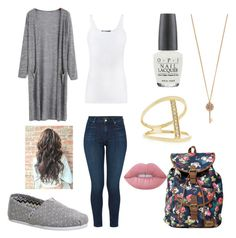 """""""fall school outfit"""" by krazycarley5sos on Polyvore featuring Vince, J Brand, TOMS, Aéropostale, OPI, Sydney Evan and Lime Crime"""