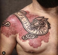 Best Chest Tattoos for Men - Chest Tattoo Gallery for Men Fenrir Tattoo, Norse Tattoo, Celtic Tattoos, Viking Tattoos, Viking Dragon Tattoo, Tattoo Gallery For Men, Tattoos Gallery, Viking Tattoo Sleeve, Sleeve Tattoos