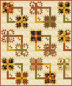 "Check out our FREE ""Square Dance"" quilt pattern using the collection, ""Leaf Into Autumn"" by Maria Kalinowski from Kanvas Studio. Designed by Diane Nagle. Finished size: 52.5"" x 63"". 