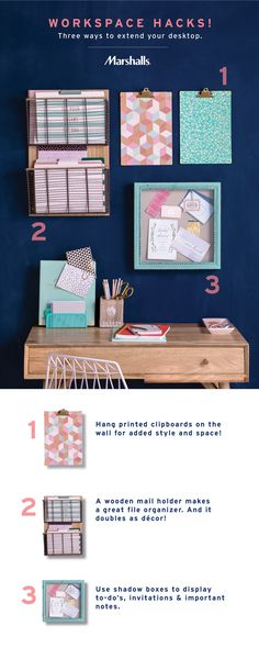 Workspace hacks for small spaces! Yes, you can still have a gorgeous (and functional!) desk — just choose organization that doubles as décor. Extend your desk by mounting or hanging unexpected organization essentials on the wall, so you can have more room for creativity. Find more desktop inspiration at Marshalls!