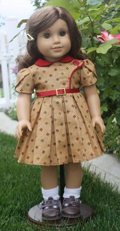 American Girl Bodice Details in Maroon and by RuthielovestoSew, $35.00
