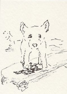 Small Dog Skateboarding in Black and White   ACEO by CitrusMoonArt, $4.00