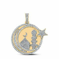 10K Yellow Gold Baguette Diamond Islam Crescent Moon Pendant Charm 2.37 CTTW | eBay Gifts For Women, Gifts For Her, Gemstone Engagement Rings, Moon Charm, Baguette Diamond, Cool Gifts, Colored Diamonds, Natural Diamonds, Handmade Items