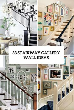 33 stairway gallery wall ideas to get you inspired stairway photo gallery, stairway picture wall Stairway Photo Gallery, Stairway Picture Wall, Stairway Pictures, Gallery Wall Staircase, Staircase Wall Decor, Stairway Decorating, Staircase Picture Walls, Staircase Design, Ideas For Stairway Walls
