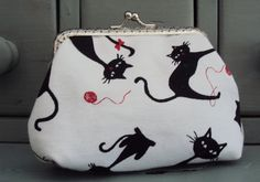 Black cat purse, cat coin purse, cat lovers gift by Tresgats on Etsy