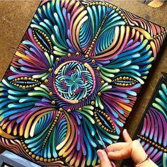 Kaleidoscopic mandala painting in progress. Mandalas Painting, Mandalas Drawing, Dot Painting, Mandala Art, Watercolor Painting, Arm Tattoo, Mixing Paint Colors, Design Tattoo, Zentangle Patterns