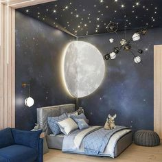 [New] The 10 Best Home Decor (with Pictures) - Check out this awesome space themed room! Love the starry night detailingCredit to Baby Room Decor, Room Decor Bedroom, Space Theme Bedroom, Outer Space Bedroom, Nursery Decor, Kids Room Design, Bedroom Themes, Dream Rooms, New Room