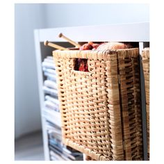 The handwoven rattan gives each basket a distinct and natural expression. This stable basket has many potential uses and is dimensioned for KALLAX shelving, giving it a unique look and function. Kallax Shelving, Ikea Shelves, Ikea Storage, Storage Ideas, Ikea Basket, Rattan Basket, Wood Hinges, Kallax Regal, Ikea Home