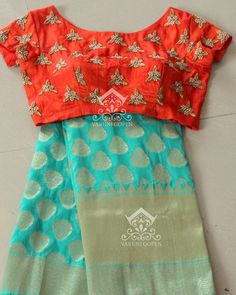 cyan blue benaras saree with designer blouse from varuni gopen collections