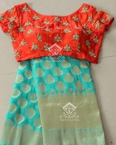 Pattu Saree Blouse Designs, Saree Blouse Patterns, Kurta Designs, Dress Designs, Blouse Models, Frock Models, Elegant Saree, Fancy Sarees, Indian Sarees