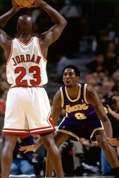 Old star vs rookie. One of many exciting things about the NBA Kobe Bryant and Michael Jordan