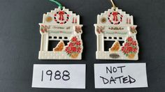 Lenox ornaments : 1988 Holiday Homecoming Hearth Fireplace, dated & not dated.