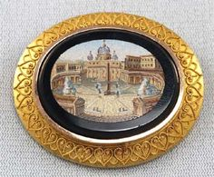 Antique micro-mosaic brooch of St. Peter's Square, Rome c. 1880