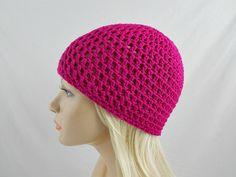 Fuchsia Beanie, Pink Skull Cap, Adult Crochet Beanie, Vegan Hat, Womens Winter Hat, Fall Beanie, Hipster Hat, Skater Beanie, Pink Beanie