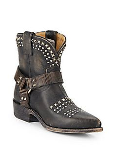 Billy Biker Studded Leather Ankle Boots