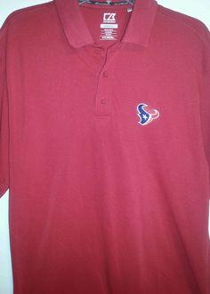 c8b1d706 NFL Houston Texans Dri Tec Red Polo Golf Shirt Cutter & Buck Size M EUC