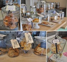 presentation baked goods booth ideas for farmers market, catering Pastry Display, Cookie Display, Baking Business, Cake Business, Granola Muesli, Farmers Market Display, Cake Stall, Food Stall, Bakery Design