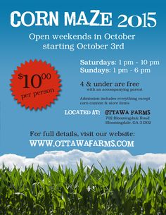 Ottawa Farms Corn Maze in Bloomingdale outside of Savannah will be open weekends in October starting Sat Oct. 3 2015. Details: http://www.southernmamas.com/2015/ottawa-farms-rodeo-sept-25-corn-maze-pumpkin-patch-open-october-weekends/