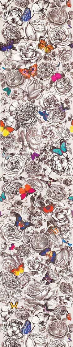 """""""Butterfly Garden"""", from the UK's Osborne & Little, a mashup of naturalism and the traditional, exquisitely hand drawn floral. Very contemporary and available as both a fabric and wallcovering."""