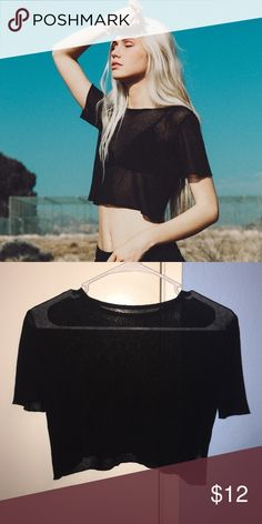 Brandy Melville top Black and sheer.  Cropped fit.  Worn once! 100% authentic just did not come with tags :) Brandy Melville Tops