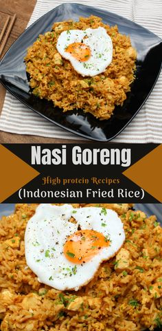 Nasi Goreng is the national dish of Indonesia cooked by street vendors in food carts across the country. It's extremely easy to make and it tastes delicious! High Protein Recipes, Protein Foods, Healthy Recipes, Nasi Goreng, Paleo, National Dish, Asian Recipes, Ethnic Recipes, Food Carts