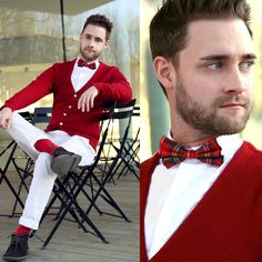 Red cardigan, socks and tartan plaid bow tie. Sharp Dressed Man, Well Dressed Men, Look Fashion, Mens Fashion, Fashion Suits, Looks Style, My Style, Outfit Man, White Slacks
