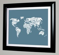 World Word Map - 8x10 Print--For Ben's room. U.S. map is also cool