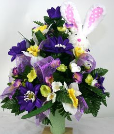 Easter Bunny Cemetery Flower Arrangement by Crazyboutdeco on Etsy