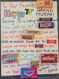Milestone birthday candy poster- happy g. Birthday Candy Posters, Candy Birthday Cards, Candy Bar Posters, 70th Birthday Parties, Birthday Presents, Birthday Wishes, Birthday Message For Mom, Happy Birthday Grandpa, Nice Birthday Messages
