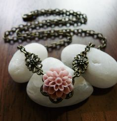 Pale Pink Dahlia Cabochon Resin Flower Antique Bronze Necklace $10.00 @Marie Westchester