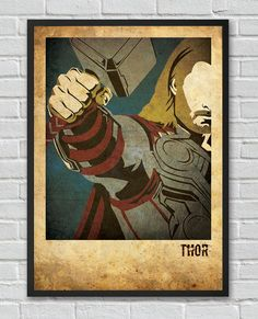 Thor The Avengers inspired vintage movie poster by FlickGeek, $11.00