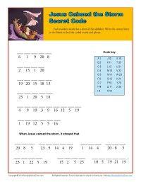 Jesus Calmed the Storm Secret Code Printable Activity for Sunday School