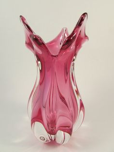 Vintage Murano Pink Art Glass Vase Hand Blown Glass