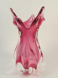 Vintage Murano Pink Art Glass Vase Hand Blown by LadyRoseTreasures, $65.00