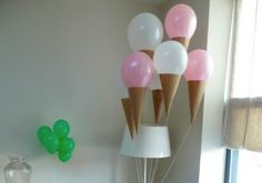 Make ice cream cones for balloons!  http://www.madeinme.co/blog/friday-fives-balloons.html