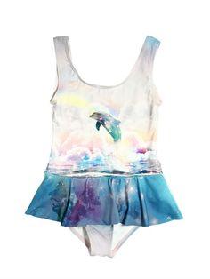 STELLA MCCARTNEY KIDS - DOLPHIN PRINT LYCRA BATHING SUIT - PINK/LIGHT BLUE