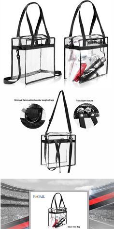 """Clear Cross-Body Messenger Shoulder Zippered Bag w Adjustable Strap, #NFL & PGA Stadium Security Approved Travel & Gym Clear Tote Bag-12"""" X 12"""" X 6"""" on bagail.com,clear bags for football games,"""
