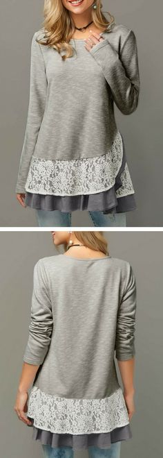 Long Sleeve Ruffle Hem Lace Panel Blouse
