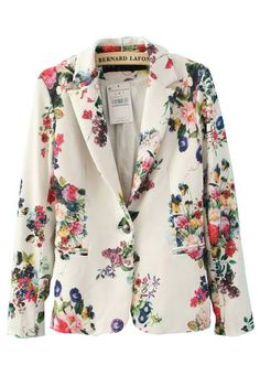 White Casual Collarless Long Sleeve Floral Single Button Suits - Sheinside.com