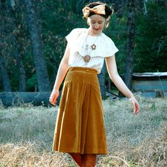 Vintage 70s Corduroy Midi Skirt with Button Through Front 26