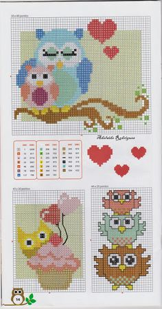 My Corner: Owls in Point Cruz ! Cross Stitch Owl, Cross Stitch For Kids, Cross Stitch Animals, Cross Stitch Charts, Cross Stitch Designs, Cross Stitching, Cross Stitch Embroidery, Embroidery Patterns, Cross Stitch Patterns