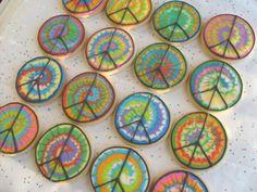 tie dye peace signs.