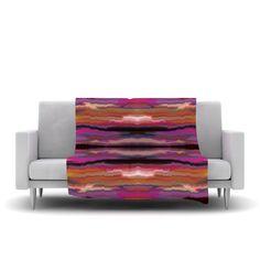 "Nina May ""Sola Color"" Pink Orange Fleece Throw Blanket from KESS InHouse"