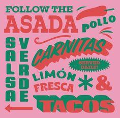 Vintage Typography, Typography Letters, Typography Design, Branding Design, Logo Design, Food Typography, Mexican Graphic Design, Food Graphic Design, Graphic Design Illustration