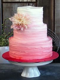 Except instead of pink, purple at the bottom, into blue, then into… - Pink Cake Decoration Ideen Pink Ruffle Cake, Pink Ombre Cake, Pink Purple, Red Velvet Wedding Cake, Purple Wedding, Wedding Cake Cookies, Wedding Cakes, Wedding Cake Designs, Wedding Ideas