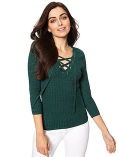 Shop Lurex Lace-Up Ribbed Sweater. Find your perfect size online at the best price at New York & Company.