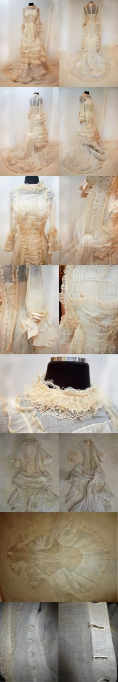 Gown from the mid to late 1870's - early 1880's. it is made from organza with pleats and is lace-trimmed. From ebayseller: coda2222